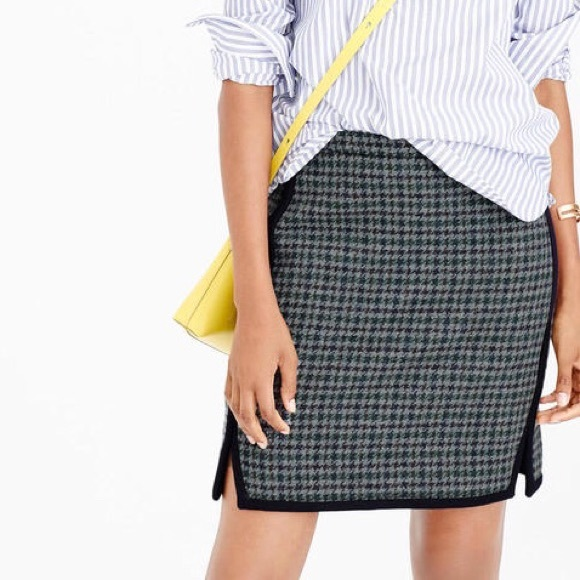 j crew double notch houndstooth skirt F4701
